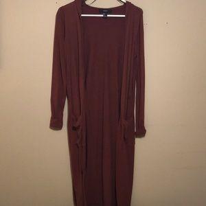 Ankle length maroon cardigan
